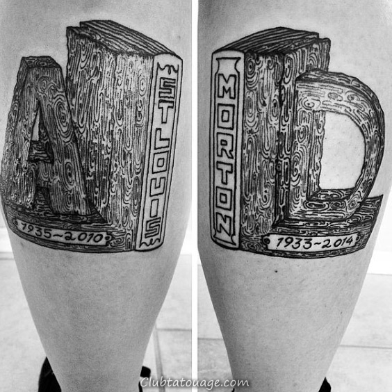 Book Ends Guys cool Memorial Leg Calf Tattoos