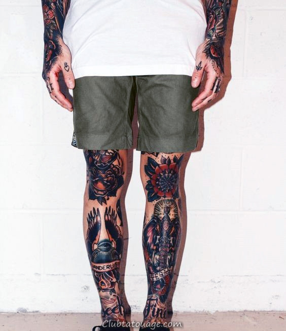 Les deux jambes Mens traditionnel manches Tattoo