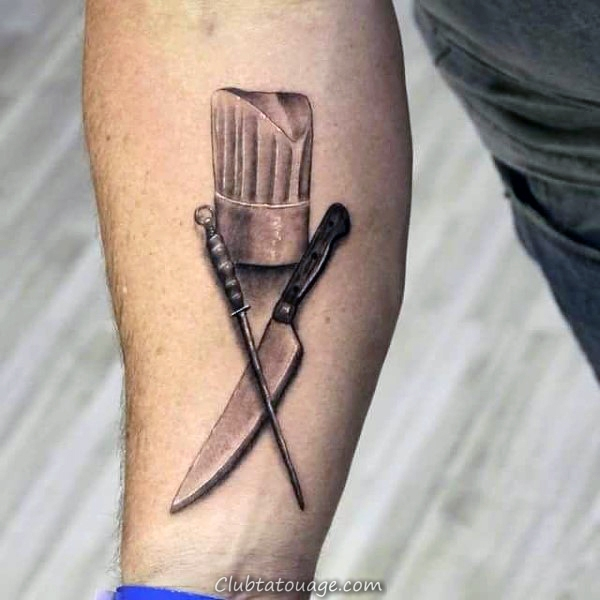 Chapeau chef de cuisine avec un couteau Hommes Inner Forearm Tatouages 