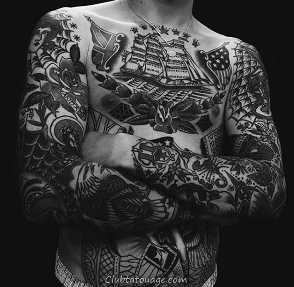 poitrine et les bras traditionnels manches Tatouages Pour Guys