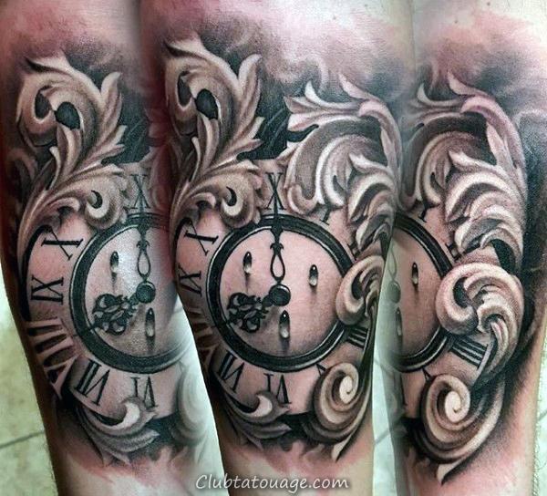 horloge avec des chiffres en monnaie Filigrane Hommes Tatouages manches