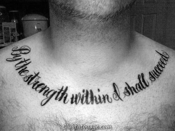 Collier d'os par la force Dans je réussirai Hommes Tattoos