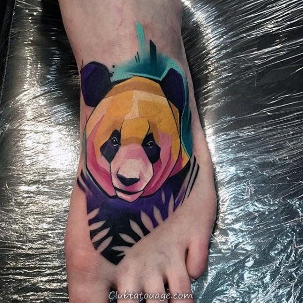 Panda Tatouages Colorful Hommes Pied Avec Aquarelle Design