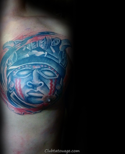 Cool Blue And Red Ink Shaded Taino Shaman Tatouage sur la poitrine pour les hommes