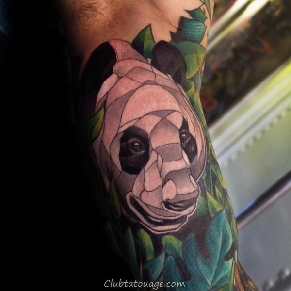 Cool Guys Panda Bear manches demi blanc et vert Ink Tattoo