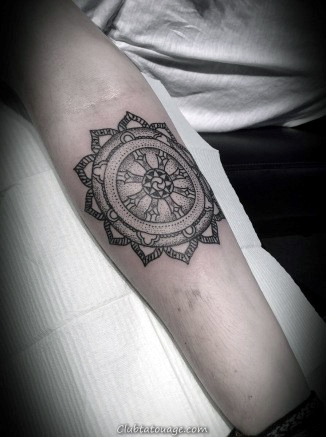Tattoo Wheel Dharma Sur les deux mains de Male