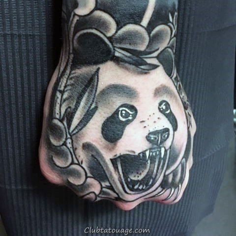 cool Panda Bear japonaise main Tattoo Sur Gentleman