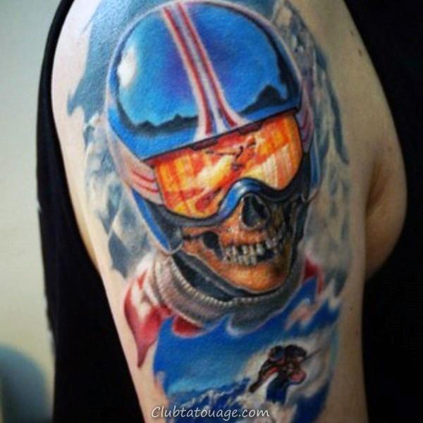 cool Skull ski Tatouages pour les gars