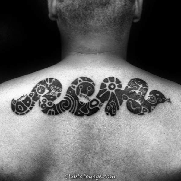 Snake Cool With Taino Symboles Hommes haut du dos Tattoo Idées