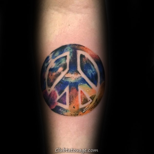 Sun détaillée And Moon Signe de paix Homme Forearm Tattoo