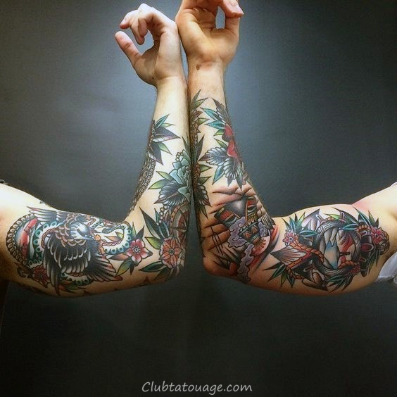 width Creative Gentlemens Tattoo Sleeve traditionnel Inspiration
