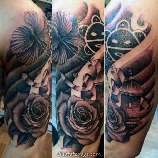 width Creative Noir et Gris Taino Hommes Arm Tattoos