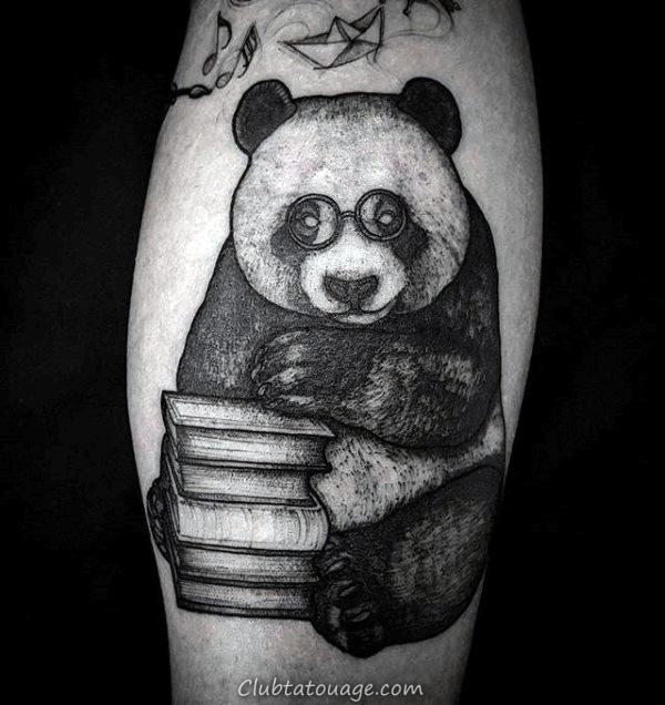Ours Panda Creative Avec pile de livres Hommes Leg Calf Tatouages