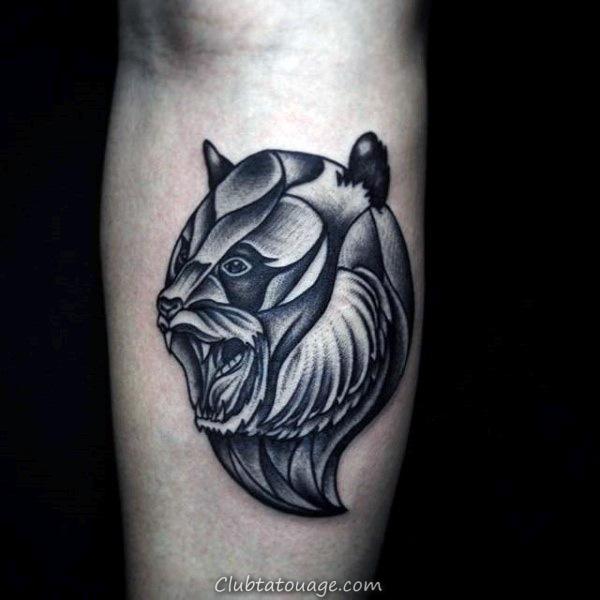 width Creative Panda Shaded Hommes Inner Forearm Tattoo