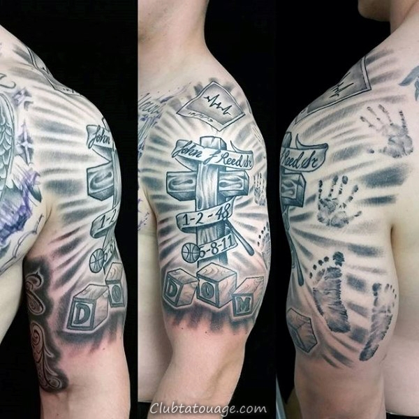 Cross Avec Toy Blocks Mens Handprint Tattoo manches demi