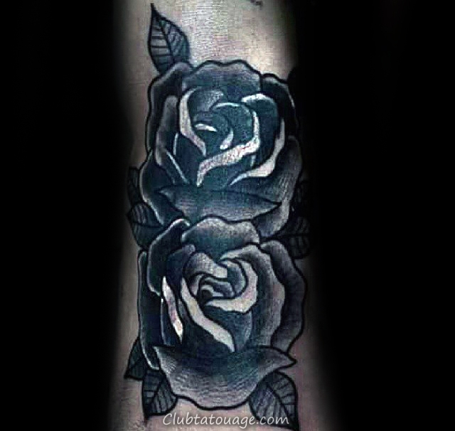 Double Black Rose Mens Tattoo Ideas