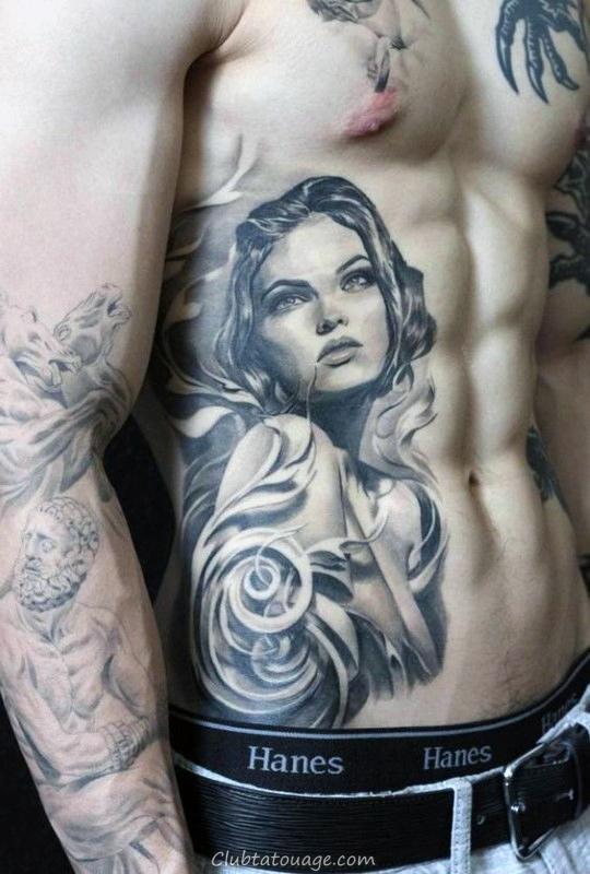 Portrait Femme Homme filigrane estomac Tatouages 