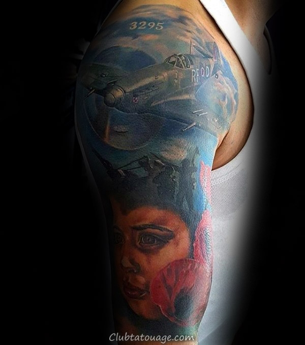 width Fighter Plans Over Graveyard Memorial Mens Military Tattoo réaliste