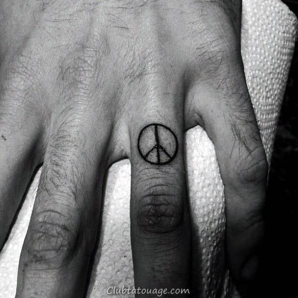 width Floral Dotwork Signe de paix Homme Inner Forearm Tatouages