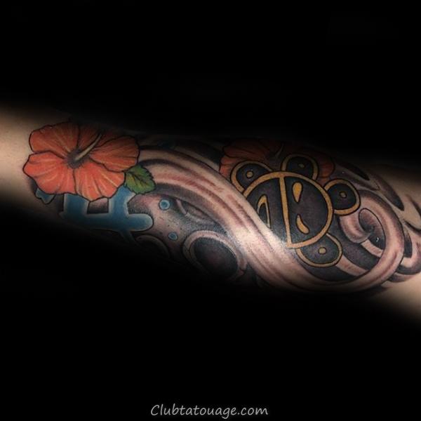 Fleur Taino Sun Forearm Tattoo Sur Man