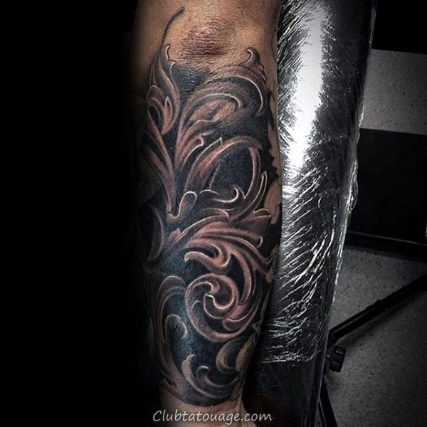 Full Sleeve Skull Avec Filigrane Tattoo Sur Gentleman