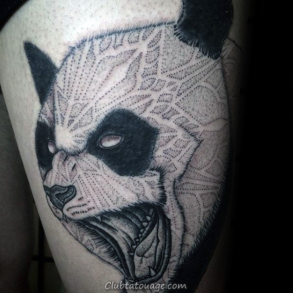 Gentleman avec de petits yeux simples Panda Minimaliste et le nez Inner Forearm Tattoo