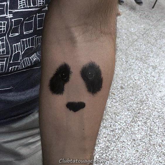 Gentleman Avec Ours Panda minuscule Géométrique noir d'encre de tatouage
