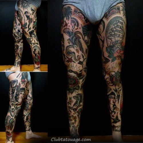 Guy Avec manches fraîche traditionnelle et la poitrine Tattoos