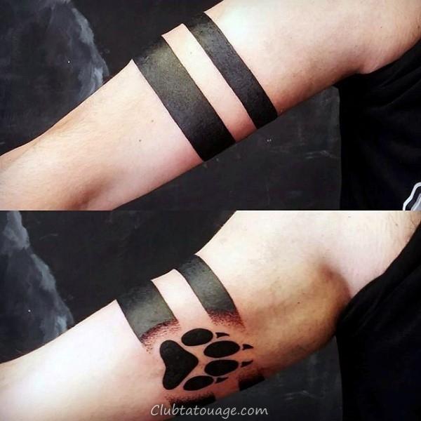 épaule Guys encre noire patte de loup Tatouages 600