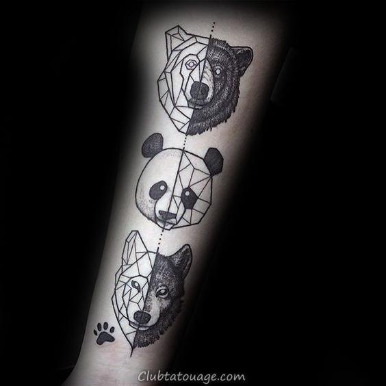 width Géométriques Aquarelle Hommes Panda Outer Arm Tattoos