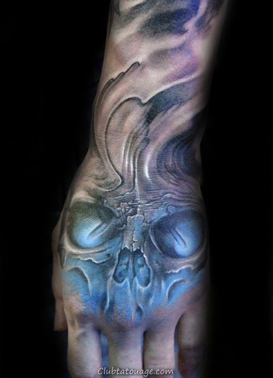 Glowing bleu crâne Shaded Hommes main Tatouages 