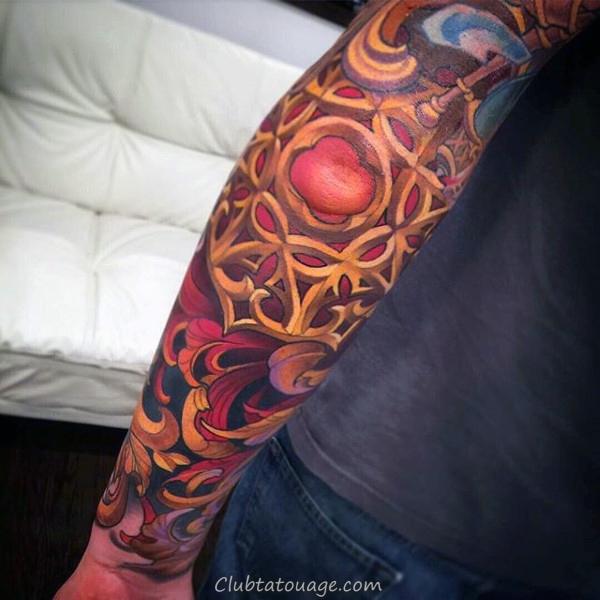 Crâne vert Hommes filigrane Arm Tattoos