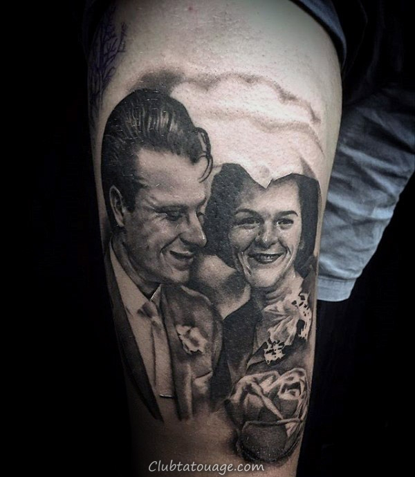Tattoo Portrait Arm Guys Dad Memorial avec la conception réaliste
