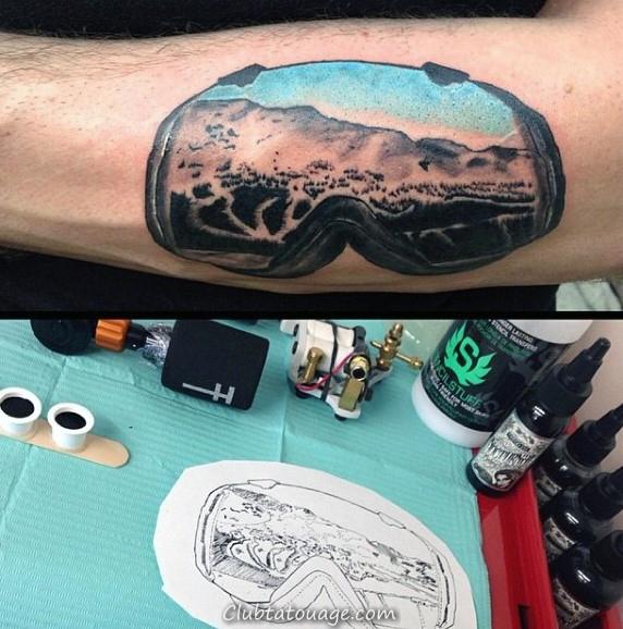 Guy Ski Goggles Montagne Slopes Inner Forearm Tattoo