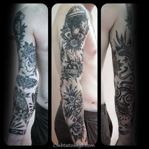 Guy Avec Tattoo Sleeve traditionnel Sailing Ship