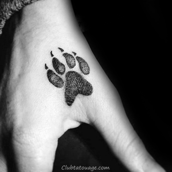 Loup Hurlant Inside Paw Mens Tattoo Ideas