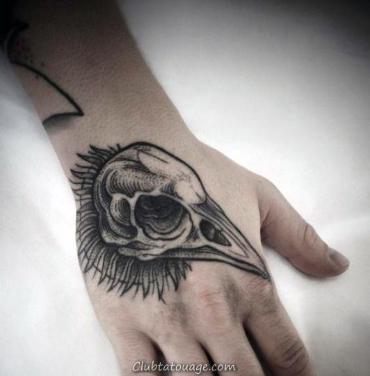 Guys oiseaux main Tatouages Crâne