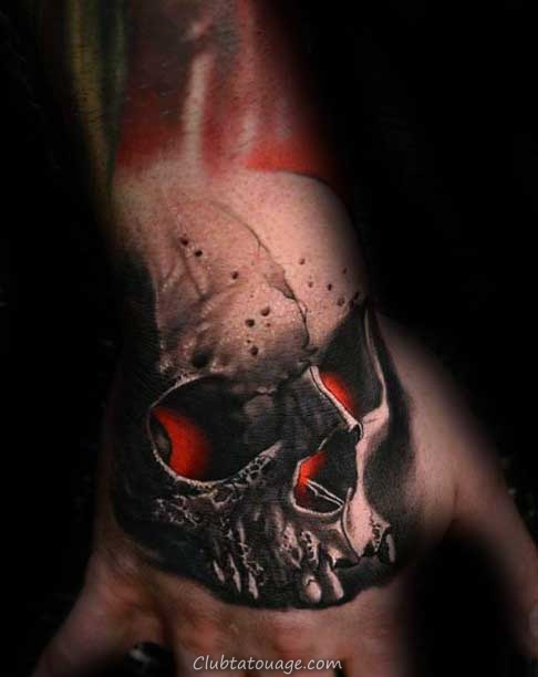 Red Skull Guys Glowing Tattoo 3d main Designs