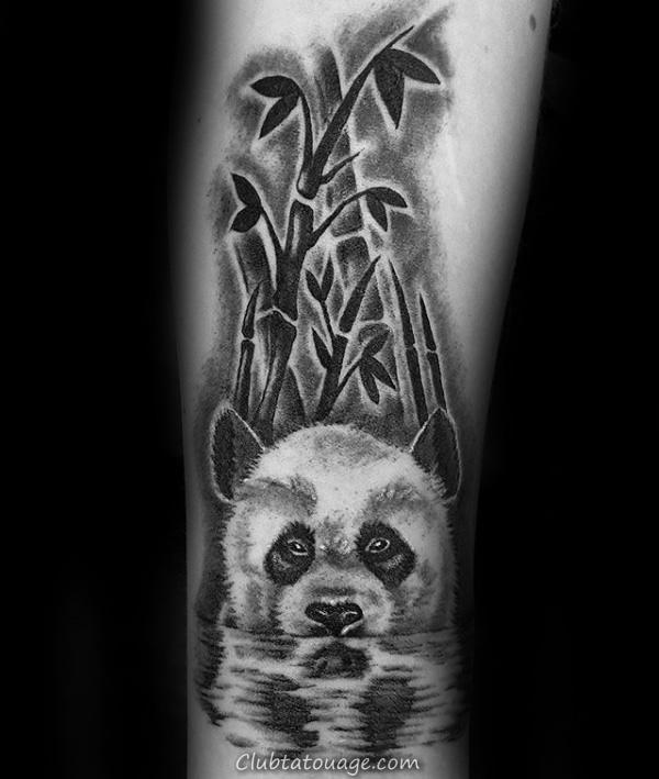 Ours herbivore Tattoo Mens Arm Panda heureux avec Shaded Design