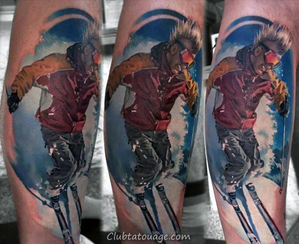 width Guys ski Googles Paysage de montagne Tatouage sur la poitrine