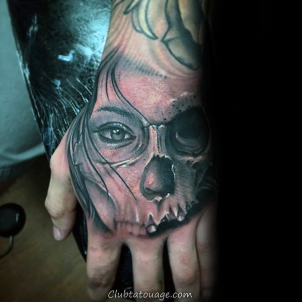 Half Female Portrait Half Skull Guys main Tatouages ​​