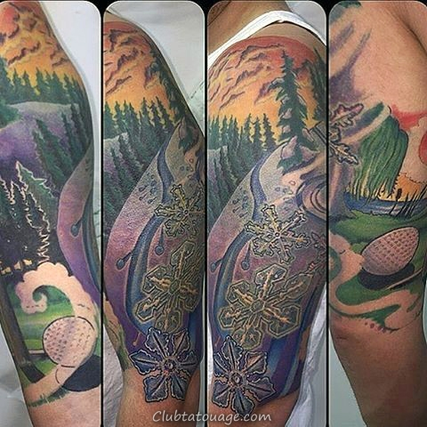 width Homme Avec Woodcut Montagne Ski Forearm Tattoo