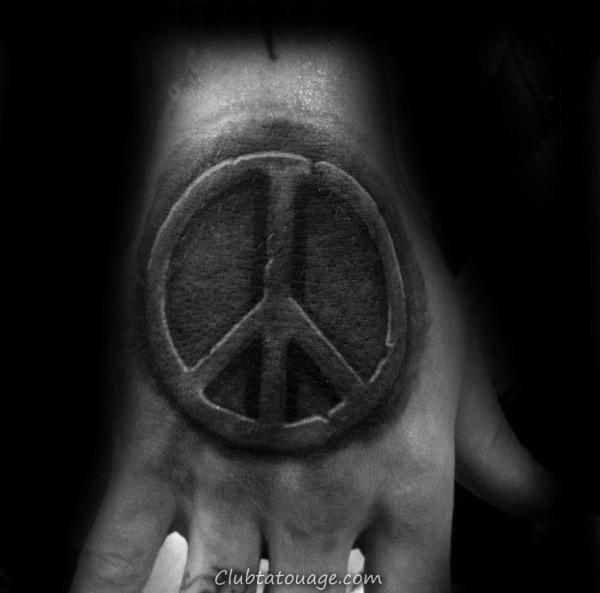 Homme Signe de paix Cristaux de glace Forearm Tattoo