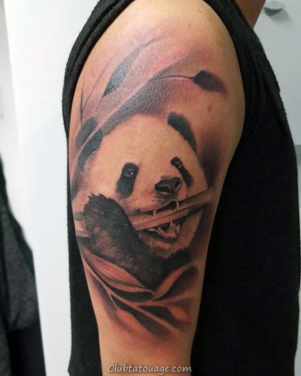Incredible cuisse Tattoo Of Panda Bear Sur Man