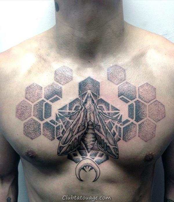 Lower Leg Mens détaillée moth Tattoos