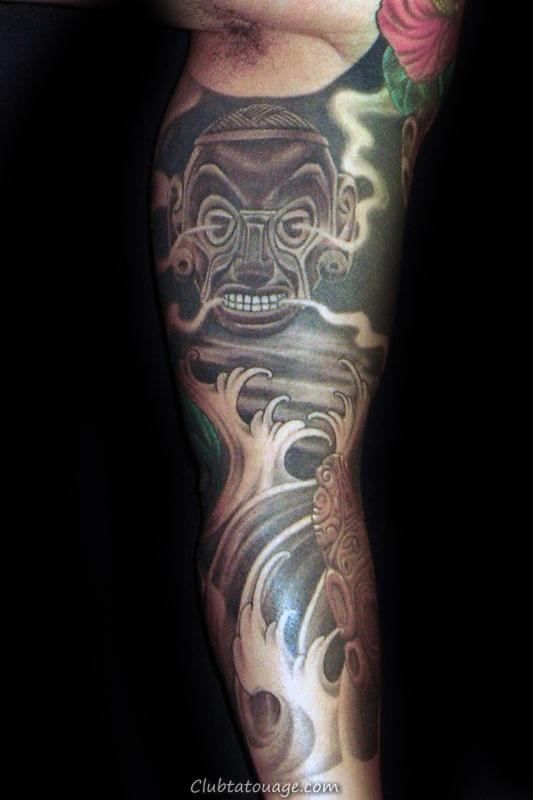 Tattoo Sleeve japonais pour les hommes Avec Taino Symboles