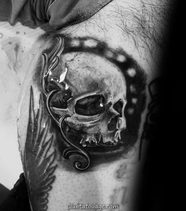 Manly filigrane crâne Hommes main Tatouages 