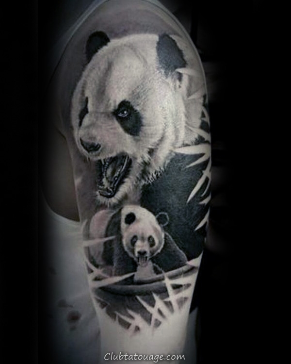 width Manly Panda Upper Chest Shaded Homme Tattoo