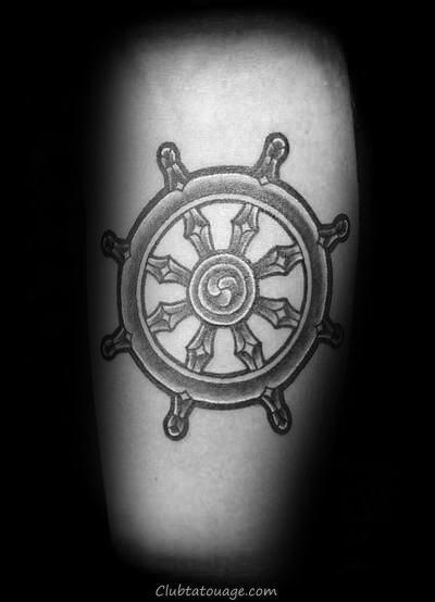 Man With Chapelet Dharma Wheel Forearm Tattoos