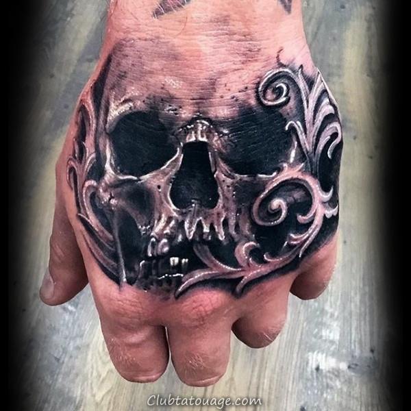 Hommes 3d Retour Crâne filigrane Tattoos